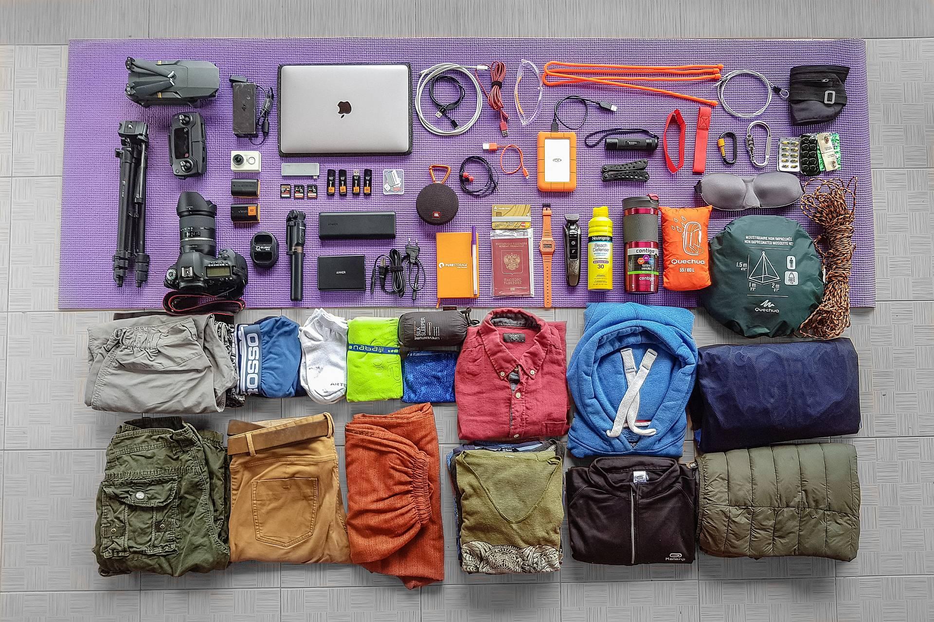 Содержимое рюкзака для путешествия