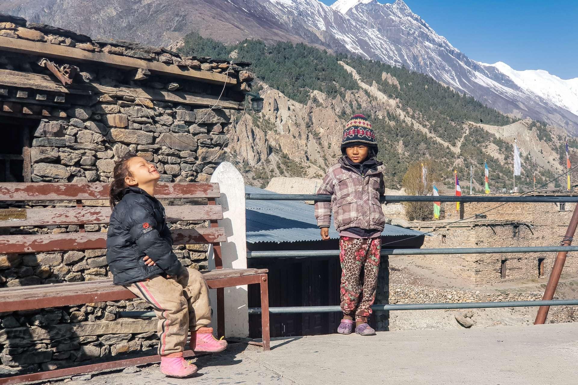 Nepal Annapurna Circuit trekking children
