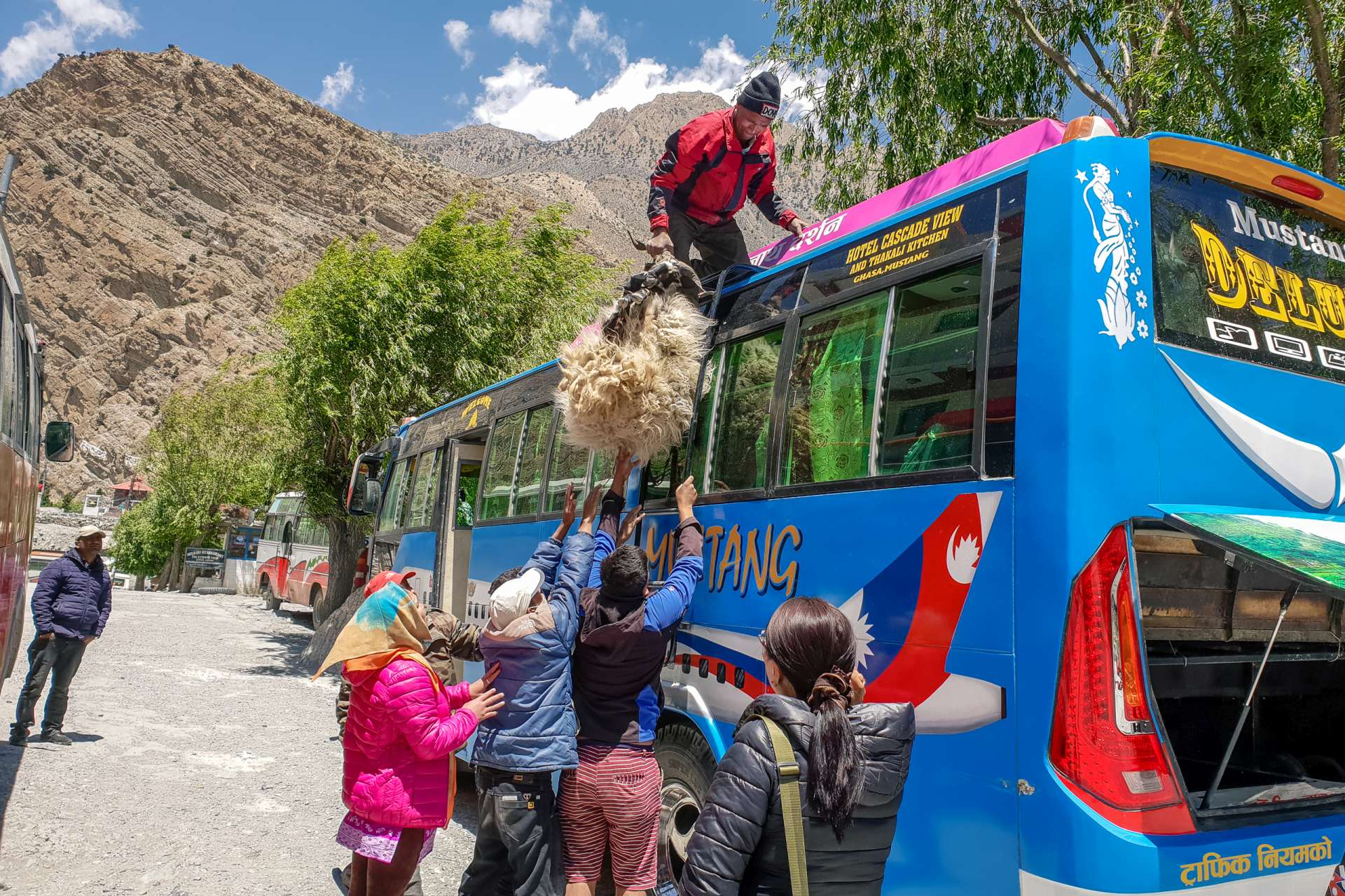 Nepal Annapurna Circuit trekking ship on a bus